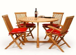 41 teak garden folding round chair table 120cm teka outdoor furniture