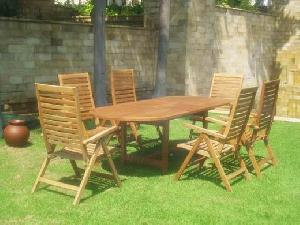 7 outdoor furniture dining reclining five position oval extension table teak garden