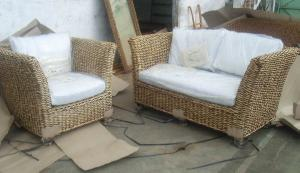 Bari Banana Leaf Sofa Living Set Woven Rattan Indoor Furniture Java  Indonesia