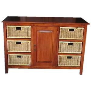 cabinet six drawers door rattan mahogany woven wooden indoor furniture