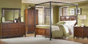 mahogany panel canopy bedroom wooden indoor furniture