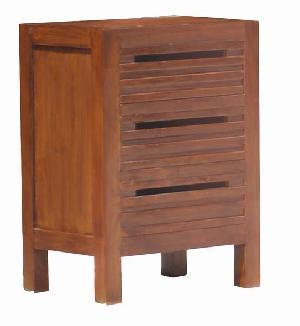 pd 0419 bedside slatted drawers teak mahogany wooden indoor furniture bedroom