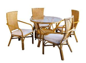 rattan dining round table glass woven furniture