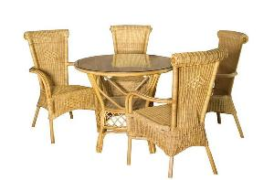 simply rattan dining arm chair round table glass woven furniture