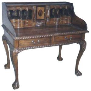 tb 58 chippendale escritoire ball legs desk table teak mahogany wooden indoor furniture