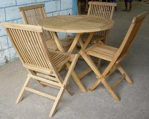 teak folding chair round table jepara java garden furniture