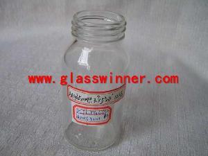cream glass jar