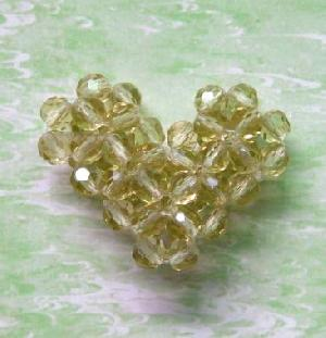crystal glass heart beads pendant