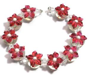 handmade flower glass beads