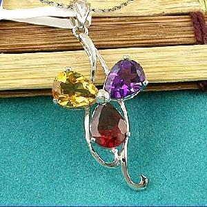manufactory sterling silver mix gem pendant beacelet smoky quartz ring earring