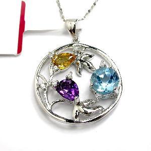 sterling silver mix gem pendant ruby beacelet genstone jewelry garnet ring