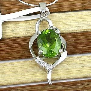 sterling silver olivine pendant rhodium plating jewelry