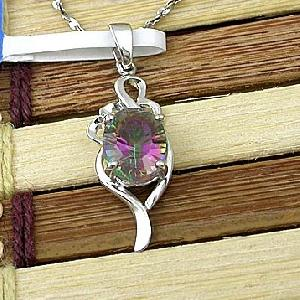 sterling silver rainbow pendant beacelet olivine ring tourmaline ruby earring rin