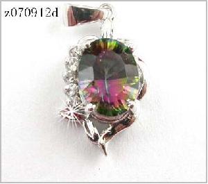 sterling silver rainbow pendant earring bracelet ring gemstone jewelry