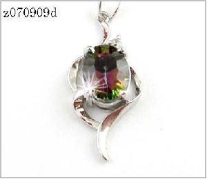 sterling silver rainbow pendant olivine ring citrine earring amethyst