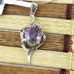 sterling silver rainbow pendant jewelry 18k gold olivine ring earrin