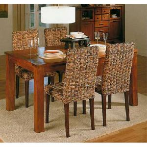 Ar 51 Minimalist Banana Abaca Dining Mahogany Table Wooden Woven Rattan  Furniture Indonesia