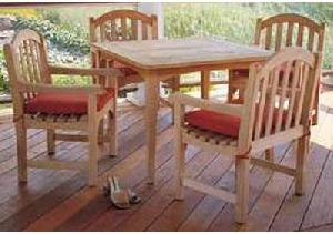 0011 teak outdoor dining four chair table teka garden furniture