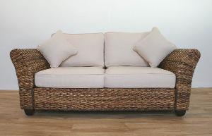 Banana Leaf Abaca In Natural Sofa Two Seater Cushion Woven Rattan ...