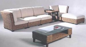 wicker sofa corner living banana leaf gliss brown woven rattan furniture indonesia
