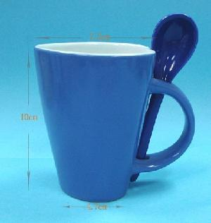 promotional heart shape mugs spoon