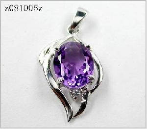 sterling silver amethyst pendant precious stone ring ruby earring bracelet