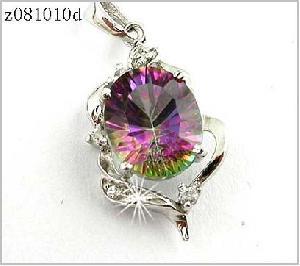 sterling silver rainbow pendant bracelet ring fasjion cz jewelry gemstone