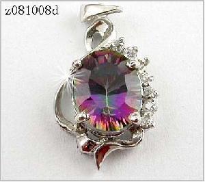sterling silver rainbow pendant olivine ring citrine earring jadeite
