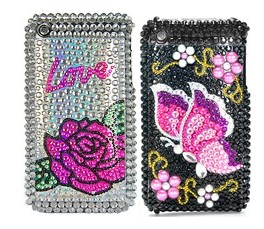 butterfly flower diamond rhinestone bling hard case apple iphone 3gs 3g