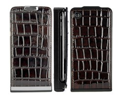 detachable textured crocodile magnetic flip leather case cover apple iphone 3gs 3g coffe