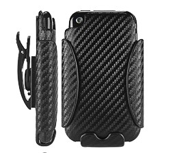 holster combo carbon fiber leather hard case iphone 3gs 3g