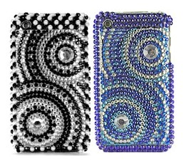 incomplete concentric circle diamond rhinestone bling hard case apple iphone 3gs 3g