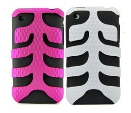 plastic fishbone silicone case apple iphone 3gs 3g pink