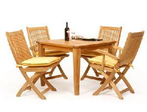 set0045 teak leverton folding dining chair table teka garden outdoor furniture indonesia