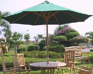 atm 0020 round green umbrella teak teka outdoor indoor garden furniture wooden indonesia