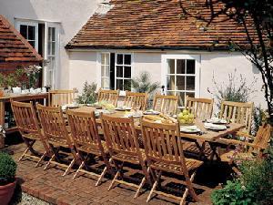 teak folding chair rectangular extension table outdoor gathering garden furniture