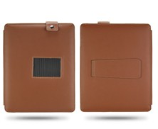 snap fastener flip leather case pouch magnetic kickstand brown