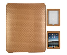 texture weave leather skin case ipad brown
