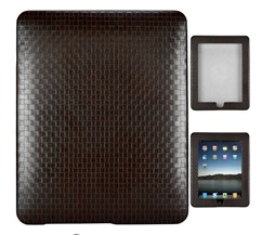 texture weave leather skin case ipad coffee