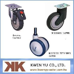 medical casters noiseless twin wheel caster
