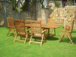 germany teak garden reclining chair oval extension table 180 240x100x100cm outdoor furniture