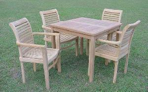 jepara stacking chair square table knock 100x100x74cm teak garden furniture
