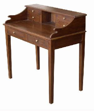 mahogany indoor furniture study writing desk table six drawers kiln dry wood