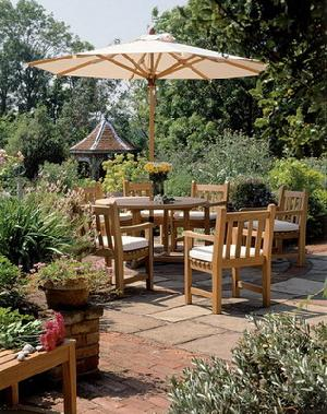 patio teak garden arm chair umbrella round table 110x110x74cm teka outdoor furniture