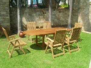 straight reclining six pieces dorset chair oval extension table knock teak garden furnitur
