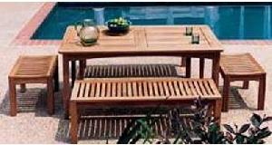 teak dingklik benches seater rectangular table knock garden furniture