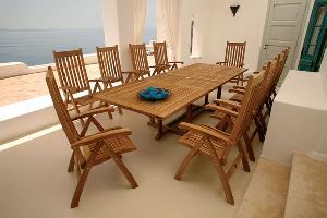 teak english ten reclining chair rectangular extension table 240 300x100x75cm garden furn