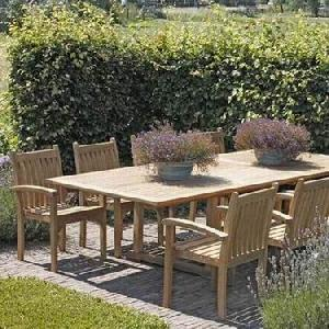 Captivating Teak Garden English Stacking Dining Chair Rectangular Extension Table  Outdoor Furniture