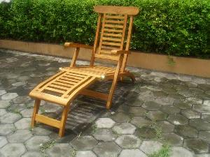 teak jepara bali steamer chair horizontal slats five position brass kiln dry garden furniture