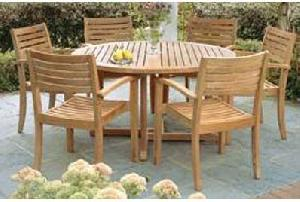 teak stacking arm chair round butterfly table 120x120x75cm teka garden outdoor furniture